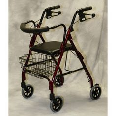 Medline MDS86810B Rollator Deluxe Blue 250 Lbs Curved Bac -- View the item in details by clicking the image