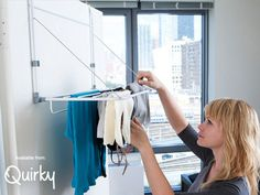Available at Quirky.com, Slimline is a drying rack that makes the most of small spaces. It hangs discreetly over any door, out of the way until you need it, and features wire supports to ensure heavy items stay up off the floor.   See the video.