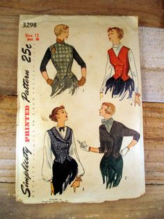 Vintage 1950 Simplicity Women's Weskit and Jacket by KCandTheBat Vintage sewing patterns are great for those who love retro fashion!