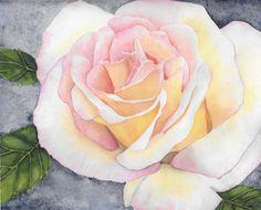 Rose Watercolor Painting, Botanical Flower Art