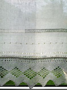 Linen and lace curtains Hemstitched  New from www.Linenartisan.Etsy.com