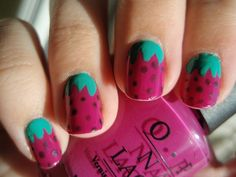 Inverted strawberry nails. Because the leaves are at the cuticle, and not the nail tip, it looks a lot better on shorter nail lengths.