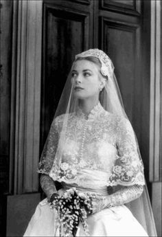 The wedding gown of Princess Grace when she married Prince Rainier III on April 19th 1956 in Monaco reflected her classic beauty. She held a bouquet of Lillies of the Valley
