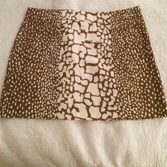 """J. Crew Giraffe Print mini skirt So cute. """"Vintage"""" J. Crew. Size zipper. Slight spot as seen in third picture. REQUESTS FOR TRADES WILL NOT BE ACKNOWLEDGED!!!! J. Crew Skirts Mini"""