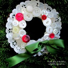 Vintage Button Wreath Ornament ~ a DIY in your sewing basket!   http://ourfairfieldhomeandgarden.com/vintage-button-wreath-ornament-a-diy-in-your-sewing-basket/
