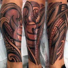 Patter Mens Polynesian Tribal Leg Sleeve Tattoo Ideas