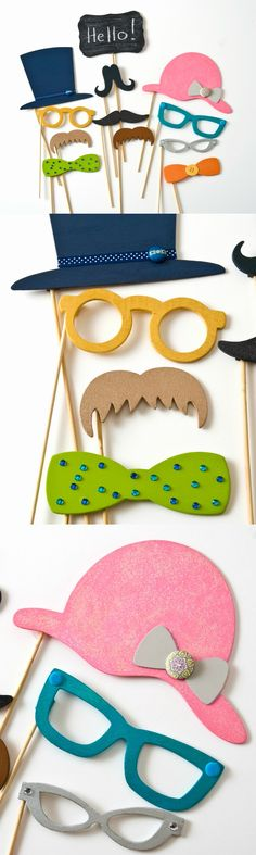 Do you want to incorporate a photo booth in an upcoming wedding, baby shower, or birthday party? These colorful DIY photo booth props are easy to decorate! You'll love the funny faces you can shoot with them.
