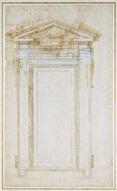 Michelangelo (Buonarroti) - Study of a window with triangular gable, c.1546 (black chalk, wash, pen & ink on paper)