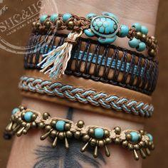 hand made seashell bracelets, boho style, macrame, leather bracelets, howlite stone,