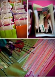neon party bags filled with 80s candy