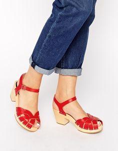 Swedish Hasbeens Red Pearl Mid Heel Sandals