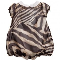 Roberto Cavalli Baby Girls Zebra Print Silk Bubble Dress at Childrensalon.com