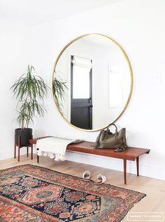 Beautiful entryway, round mirror, bench, Amber Interiors - Client Freakin Fabulous - Neustadt 5