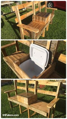 DIY Pallet Garden Bench with Cooler | 101 Pallets                                                                                                                                                                                 More