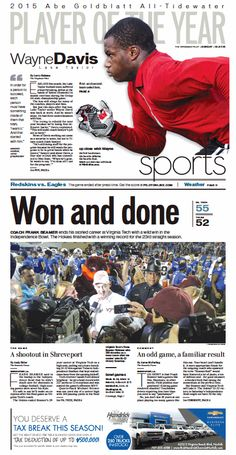 The Virginian-Pilot's Sports front page for Sunday, Dec. 27, 2015.