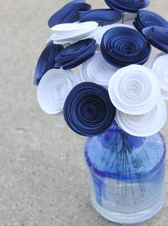 Navy Blue and White Paper Flower Bouquet - Wedding - Baby Boy Shower - Centerpiece - Home Decor - Party on Etsy, $13.36 CAD