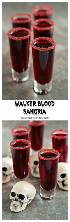 Walker Blood Sangria for Dead Eats: Recipes Inspired by The Walking Dead- Just because the world is ending and there's walkers everywhere that's no excuse not to entertain in style. Lock the doors, turn out the lights and sip this Walker Blood Sangria. Soirée Halloween, Halloween Cocktails, Halloween Food For Party, Holiday Drinks, Party Drinks, Halloween Treats, Holiday Recipes, Drunk Party, Halloween Cookies