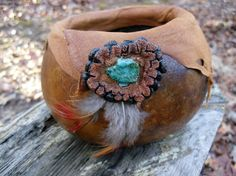 Gourd with Leather and Turquoise on Ata Fruit by MountainCrafters, $15.00