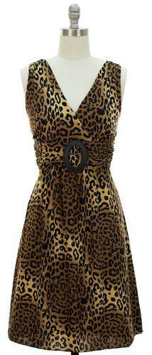 Womens Dress Size MEDIUM 8/10 Brown Black Leopard Animal Sleeveless Top Stretch