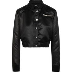 Versus Versace Cropped embellished satin bomber jacket ($650) ❤ liked on Polyvore featuring outerwear, jackets, black, flight jacket, studded jacket, satin bomber jacket, bomber jacket and satin jackets