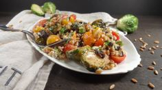 Citrus Roasted Brussel Sprout and Farro Salad - Colleen's Kitchen