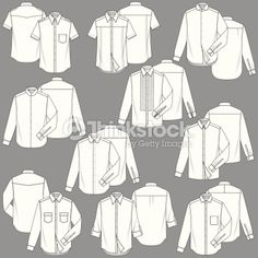 Fully editable men's shirt fashion illustration templates. 10 different basic styles, including 2 short sleeve shirts, 8 long sleeve shirts, 10 collars and sleeve cuffs are all different. every...