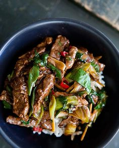 Stir Fry Ginger Beef » Again a classic recipe for you. Quick, easy and really good one. The beef strips marinate in a soy, vinegar, honey, ginger marinade, and then fry up quickly with garlic, chile, and more ginger. And it will be ready for your date night! #beef