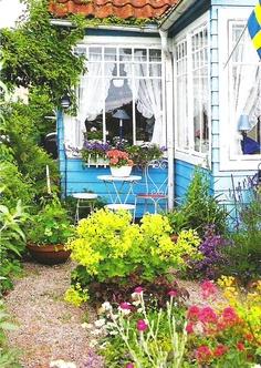 little blue Swedish cottage