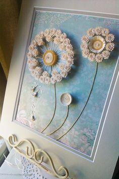 dandelion paper quilling artwork with matting by ThePrettiesStore