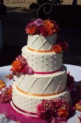 This is how I want my wedding cake! Except the lines would be replaced with swirls to imitate the lace on my dress!