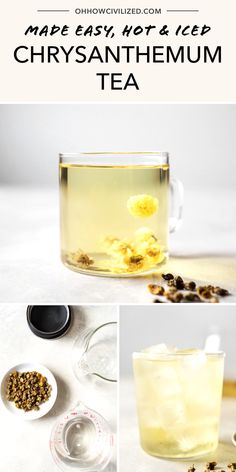 Chrysanthemum tea is a perfect tea drink anytime of day! Dried chrysanthemum flowers can be infused in water to make a caffeine-free tea. With its refreshing and mild honey flavor, it's easy to make hot and iced. Hot Tea Recipes, Drink Recipes, Making Herbal Tea, Chrysanthemum Tea, Caffeine Free Tea, Flower Food, Cactus Flower, Tea Sandwiches, Brewing Tea