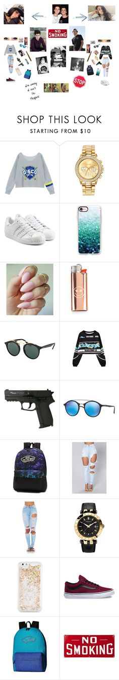 """""""Sem título #68"""" by laurafeldetonello on Polyvore featuring Chicnova Fashion, Mestige, adidas Originals, Casetify, Ray-Ban, WithChic, Vans, Versace and ban.do"""