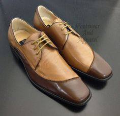 LA MILANO Men's Leather Lace Up Two Tone Dress Shoes A1125 Tan & Brown #Leather #LaceUp