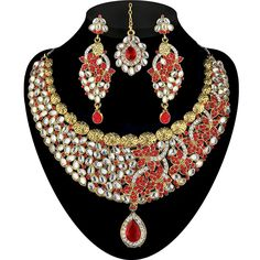 9blings bollywood bridal red cz gold plated choker necklace set 2200805