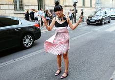 Susie Lau in a J.W.Anderson top and Christopher Kane skirt