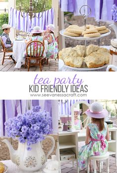 Kid Friendly Downton Abbey Purple Tea Party - a cute party idea for kids. Toddler Tea Party, Girls Tea Party, Princess Tea Party, Tea Parties, Tea Party For Kids, Summer Parties, Tea Party Activities, Tea Party Crafts, Tea Party Games