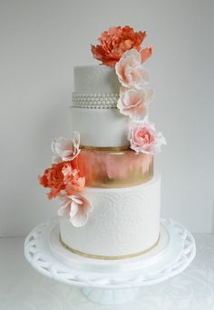 Round Wedding Cakes - {Enchanted} Lace, pearls, gold brush and coral :)