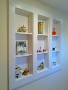 Use of space for display between wall studs.