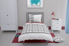 Single elephant duvet cover Elephant Cushion, Elephant Duvet Cover, Grey Elephant, Elephant Design, Elephant Print, Elephant Nursery, White Pillow Cases, White Pillows, Toddler Duvet Set