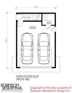 Contemporary Viron-480 - Robinson Plans Micro House Plans, Narrow Lot House Plans, Modern House Plans, House Floor Plans, Garage Apartment Plans, Garage Apartments, Garage Plans, Cottage House Plans, Craftsman House Plans