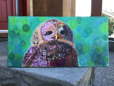 Items similar to Mixed media original owl painting canvas on Etsy Carrie, Owls, Original Art, Mixed Media, Bird, The Originals, Canvas, Painting, Etsy
