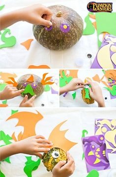 Transform this year's gourds into creepy, crawly works of art- no carving required! This DIY craft idea is fun for the whole family and would make a great Halloween party activity!