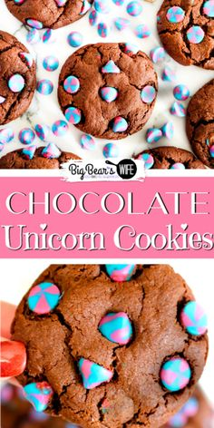 Chocolate Unicorn Cookies - If you have someone in your life that loves Unicorns you need to bake them up a batch of these Chocolate Unicorn Cookies! They're deliciousand packed with the prettiest Unicorn Pink Blue swirled vanilla chips! Fun Cookies, Cupcake Cookies, Chip Cookies, Cookies Et Biscuits, Cupcakes, Chocolate Biscuits, Chocolate Cookies, Chocolate Desserts, Best Homemade Cookie Recipe