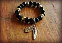 Tribal black Onyx Beaded Bracelet with Tree of by sweetfreedomshop