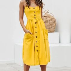 CUERLY Elegant button women dress Pocket polka dots yellow cotton midi dress Summer casual female plus size lady beach vestidos Casual Summer Dresses, Summer Dresses For Women, Dress Summer, The Dress, Baby Dress, Fit And Flare Wedding Dress, Spaghetti Strap Dresses, Spaghetti Straps, Button Down Dress