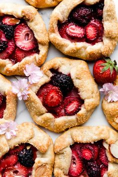 Easy mini berry galettes with strawberries and blackberries using buttery flaky homemade pie dough! Recipe on sallysbakingaddic. Tart Recipes, Fruit Recipes, Baking Recipes, Dessert Recipes, Baked Fruit Recipe, Lasagna Recipes, Ramen Recipes, Cabbage Recipes, Broccoli Recipes