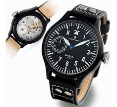 Steinhart Nav B-Uhr 47 handwinding black Pilot Watch — This is lovely! Quite tempted. Steinhart Watch, Best Looking Watches, Heart Beating Fast, Watch 2, Luxury Watches For Men, Beautiful Watches, Back To Black, Omega Watch, Chronograph