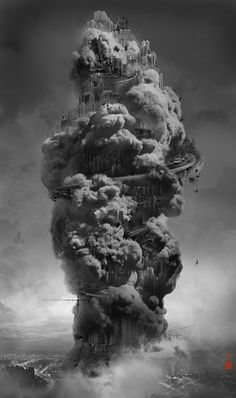 """""""Heavenly Cities in the Sky"""" Yang Yongliang - Many images! #metropolis #clouds"""