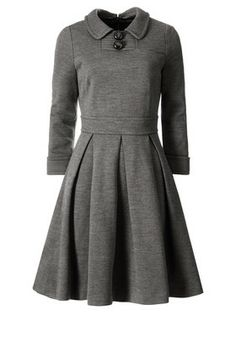 orla kiely grey [gray] dress with 3/4 sleevs, collar, buttons, waistband and pleated skirt