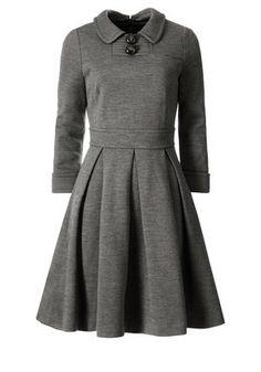 orla kiely grey [gray] dress with 3/4 sleevs, collar, buttons, waistband and pleated skirt